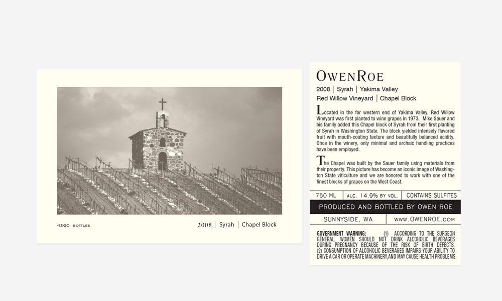 Owen Roe Chapel Block Label Design