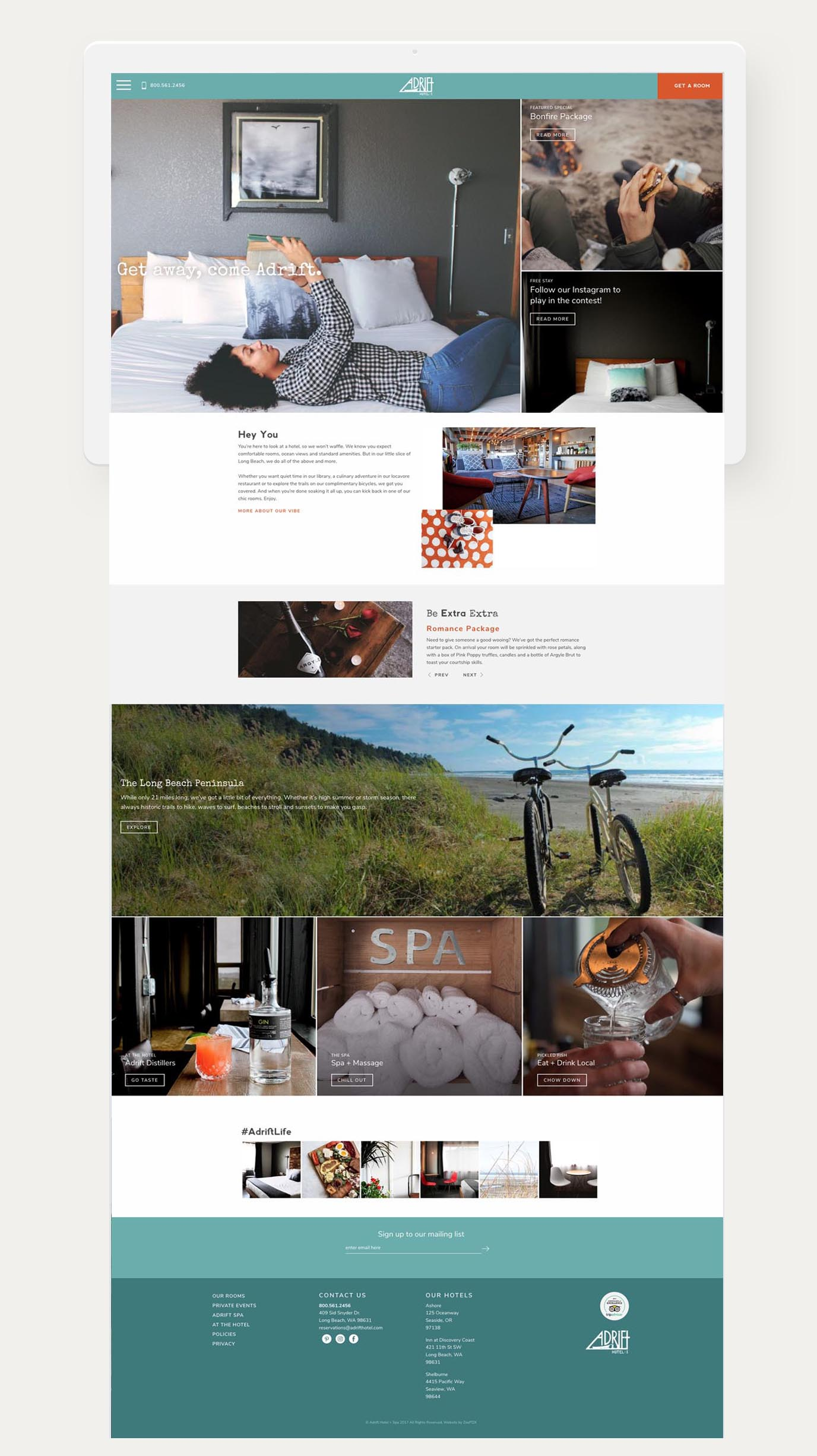 Adrift landing page web design
