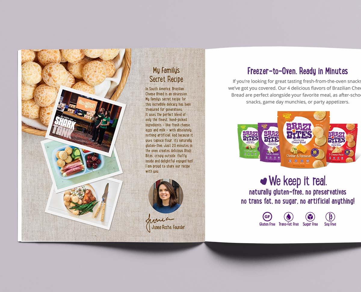 Brazi Bites brochure design spread