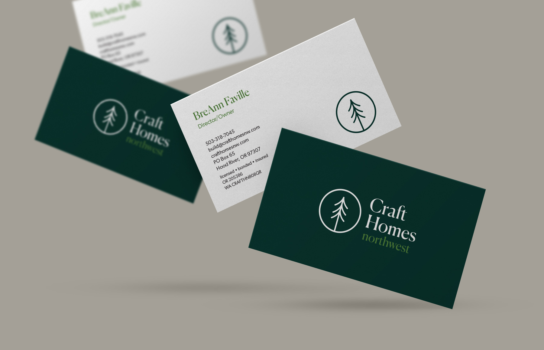 business card design for craft homes nw