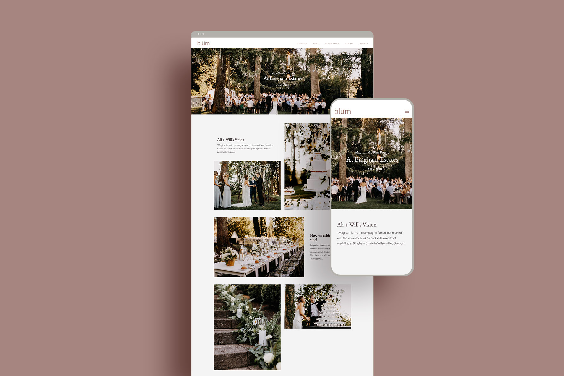 portfolio page web design for portlands best floral designers