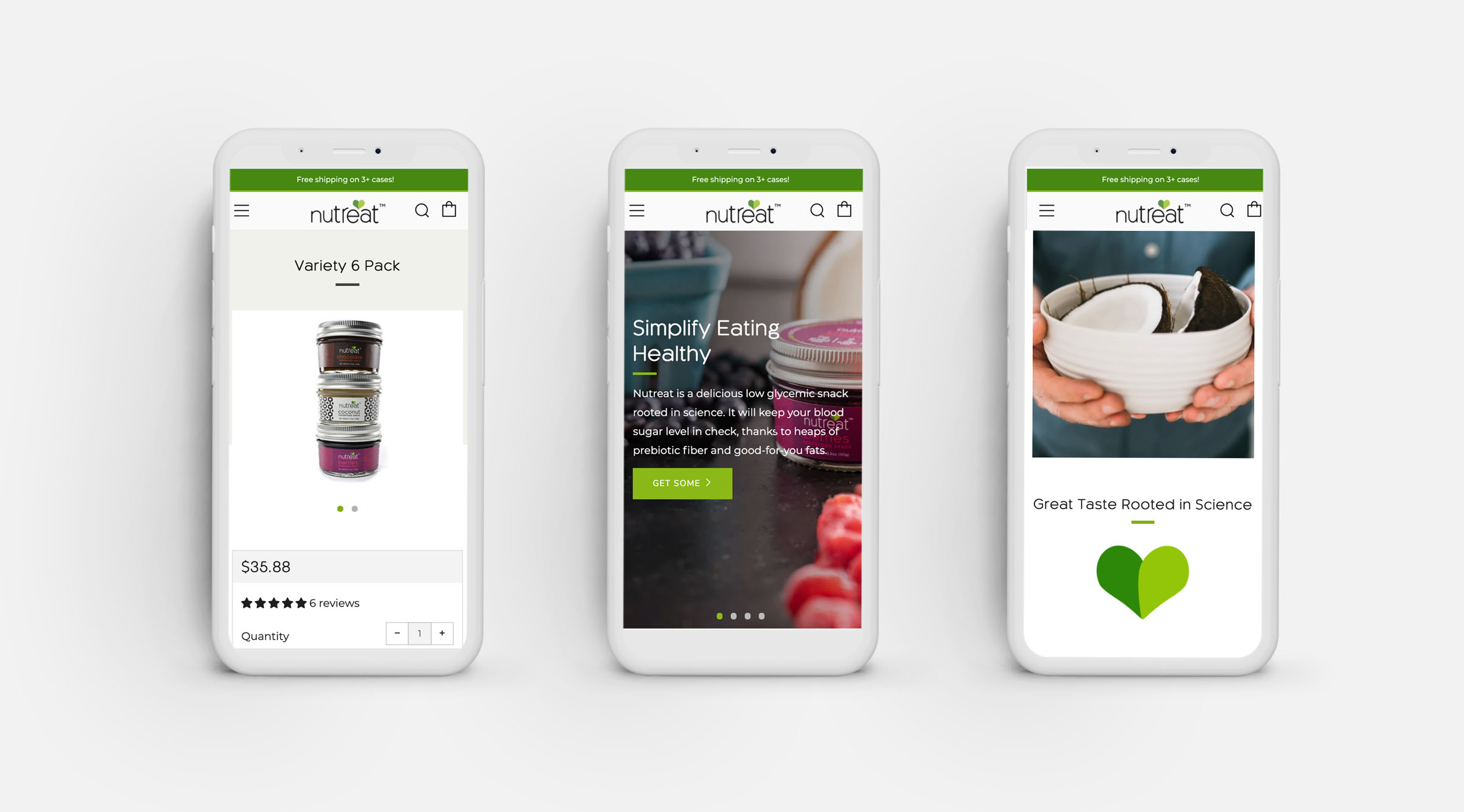 Mobile Shopify website design for nutreat