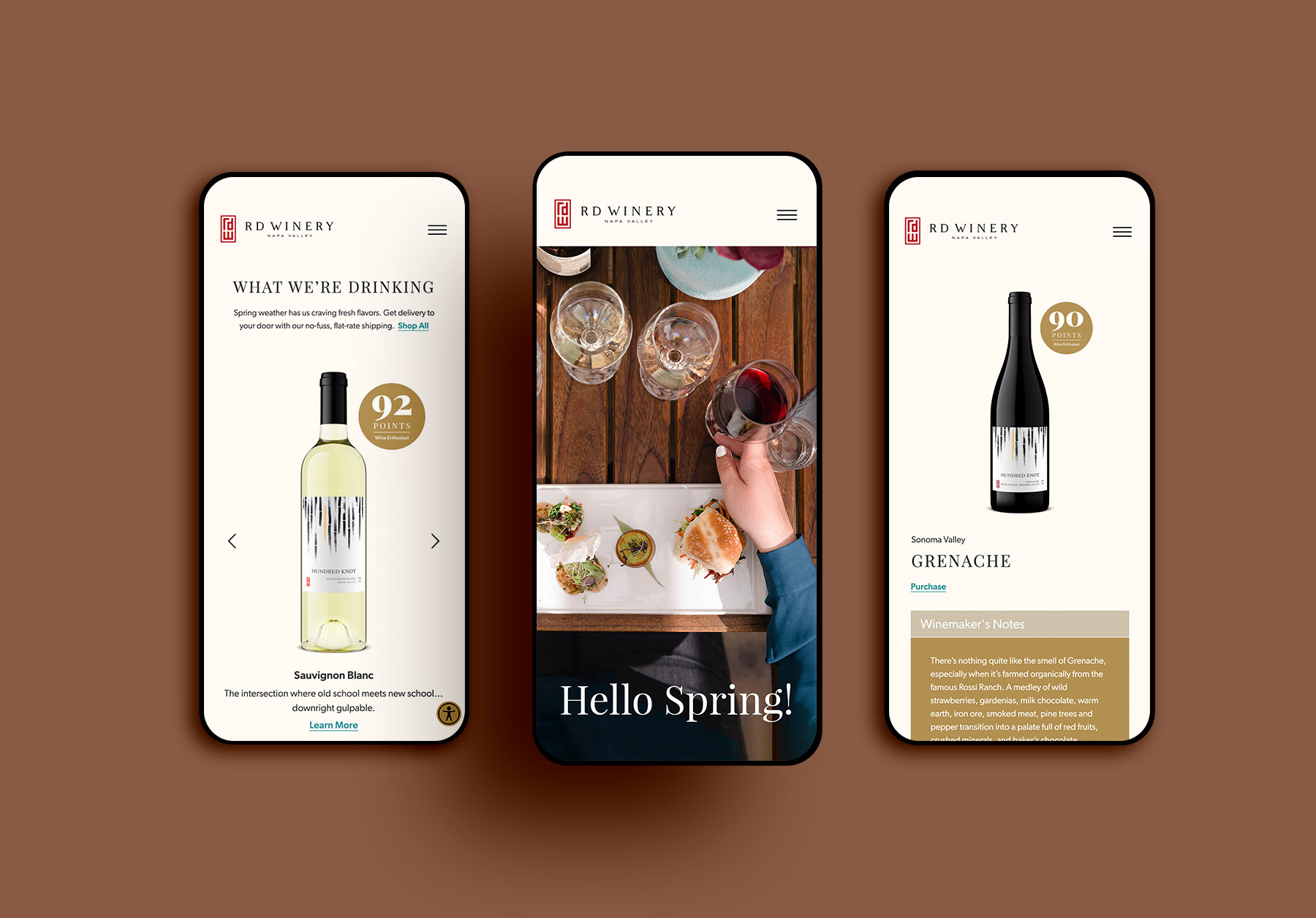 mobile website design rd winery napa