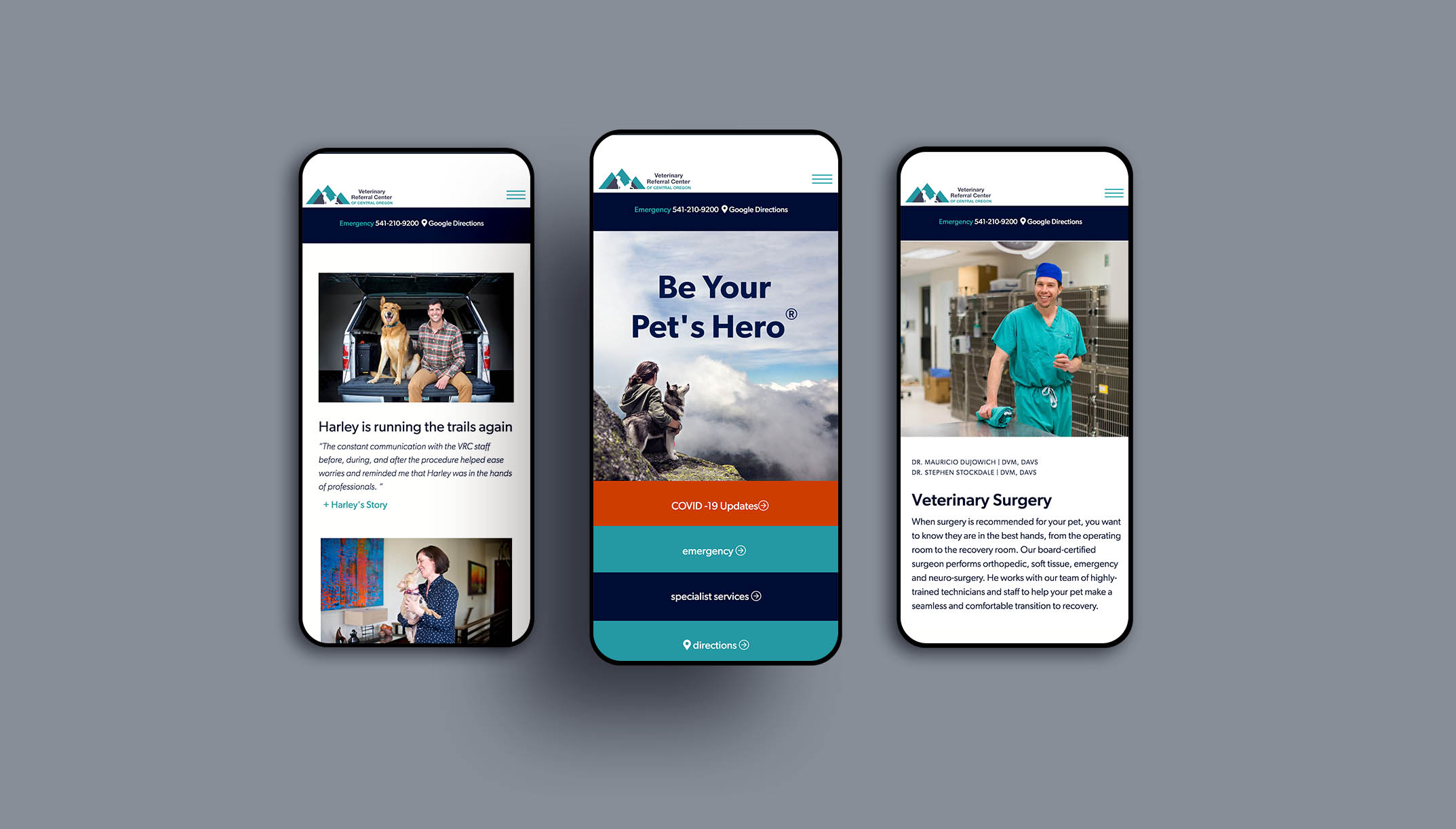 mobile web design for veterinary referral center of central oregon