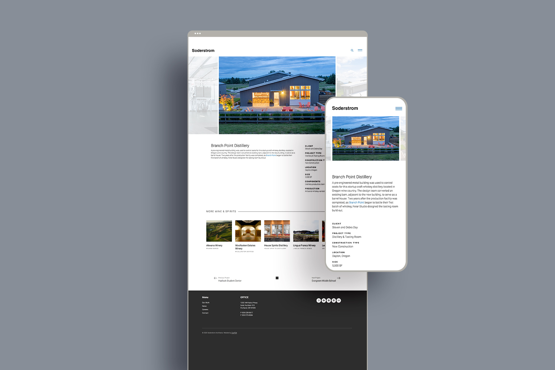 Portland web design studio soderstrom architect project extended page