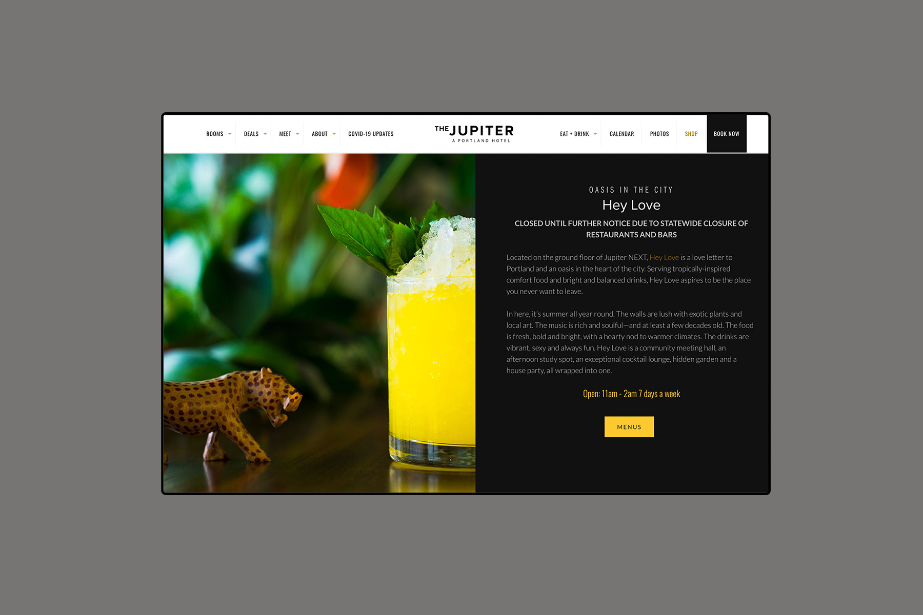 Web design for the jupiter hotel hey love page