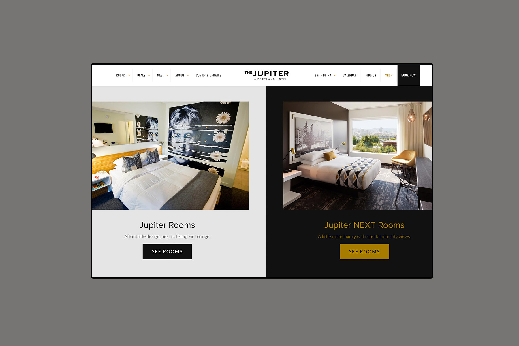 Web design for the jupiter hotel home page