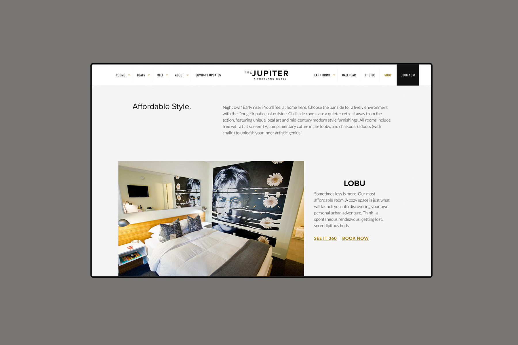 Web design for the jupiter hotel rooms page