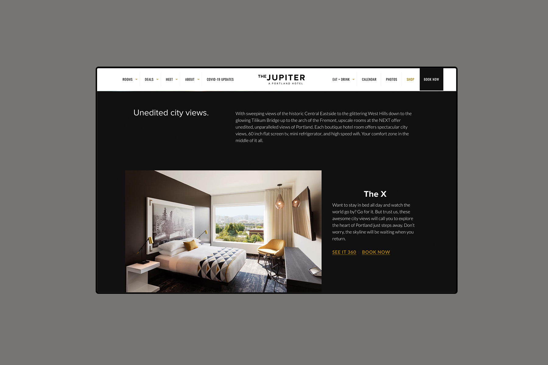 Web design for the jupiter next rooms page