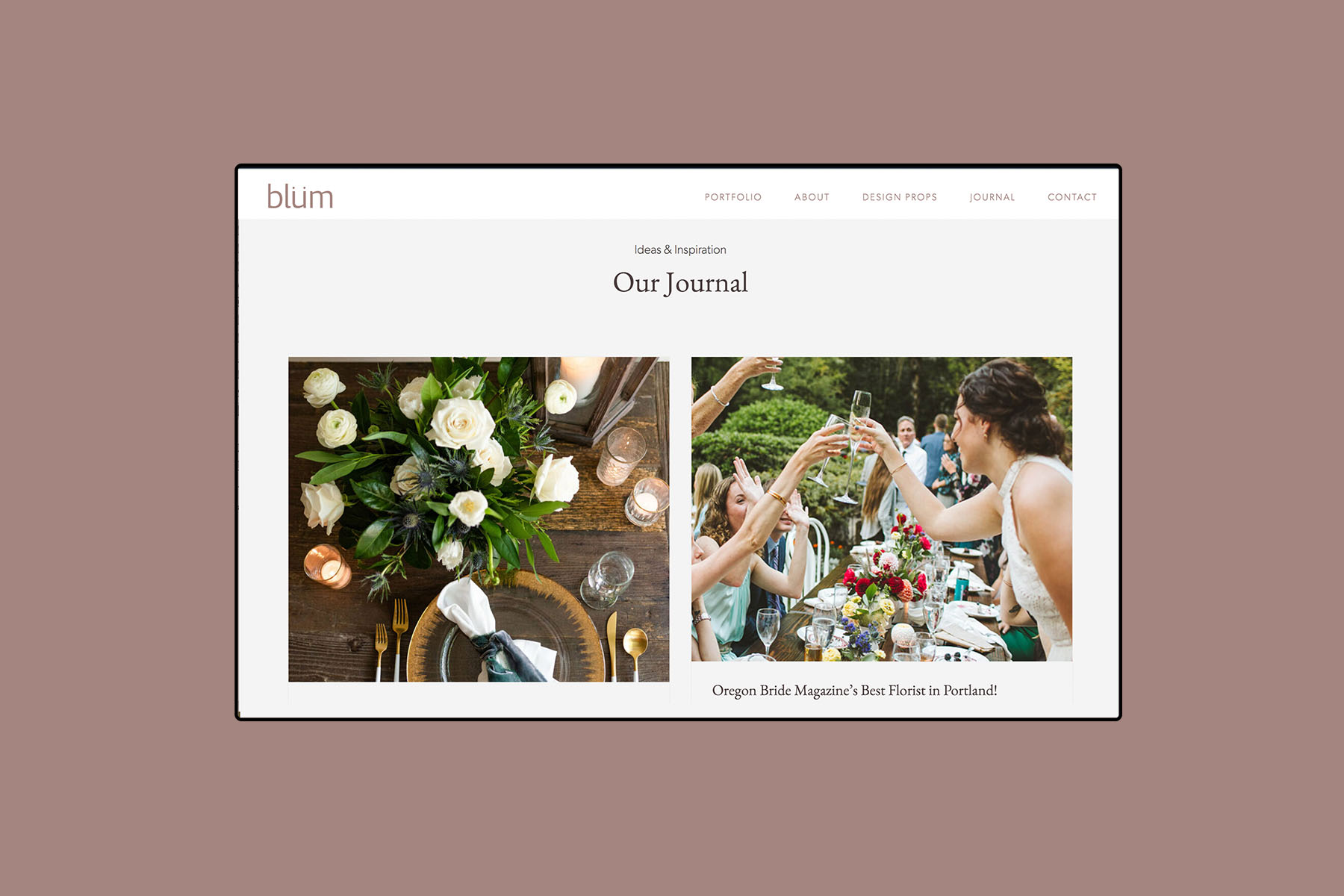 desktop web design for Blum floral design journal