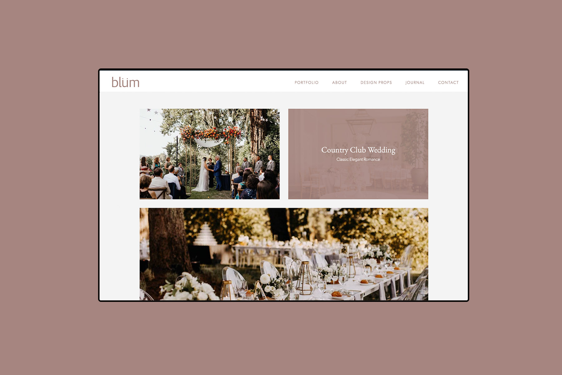 desktop web design for Blum floral design portfolio