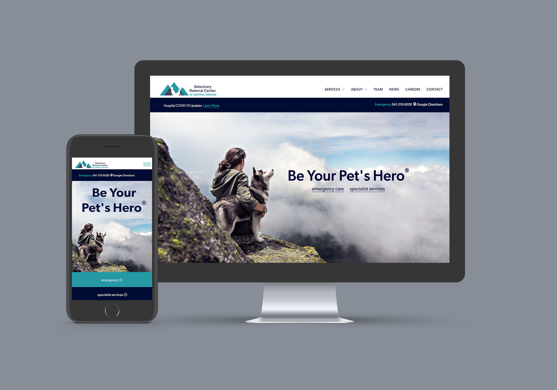 Web design Veterinary Referral Center desktop view